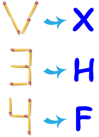 In each task need to move two matchsticks to get the needful letter. Vector image. Çizim