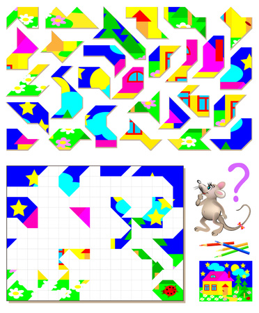 Logic puzzle game. Need to find the correct place for each detail and paint them in corresponding colors. Vector cartoon image.
