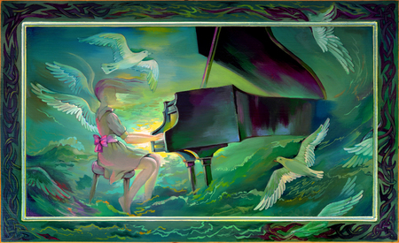 Concerto for Orchestra and Sea. Portrait of beautiful girl playing the piano in the fantasy environment.Oil painting on wood.