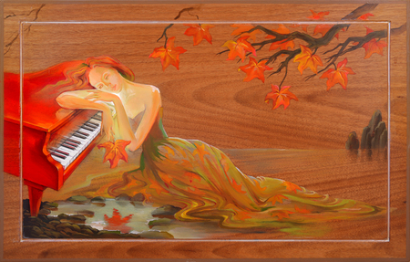 Autumn in Douarnenez. Portrait of beautiful women dreaming in the fantasy environment. Oil painting on wood.