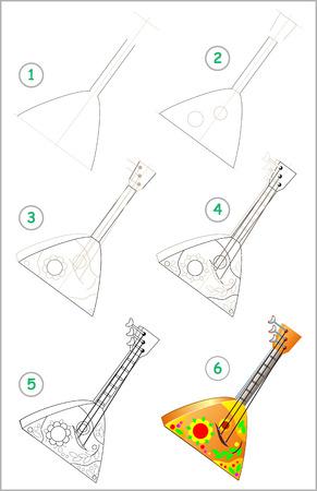 La página muestra cómo aprender paso a paso a dibujar la balalaika del instrumento musical ruso. Desarrollar habilidades infantiles para dibujar y colorear. Imagen vectorial