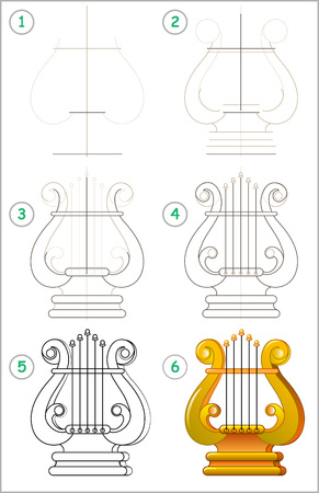 Page shows how to learn step by step to draw a lyre. Vector image. Developing children skills for drawing and coloring. Vectores