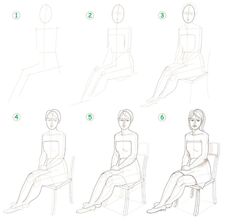Page shows how to learn step by step to draw a sitting woman. Developing skills for drawing.