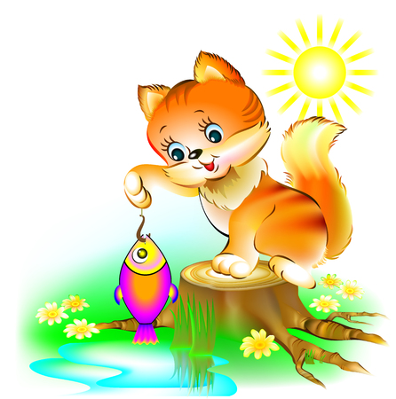 Cat is fishing, vector cartoon image.