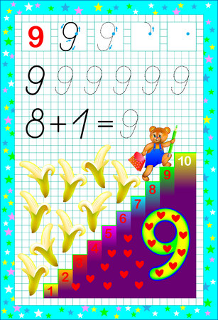 Educational page for children with number nine. Developing skills for counting and writing. Vector image.