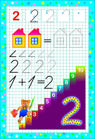 Educational page for children  on a square paper with number two. Developing skills for counting and writing. Vector image.