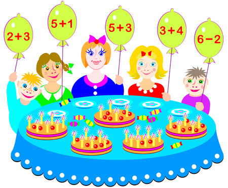 Educational page with exercises for children on addition and subtraction. Which cake will every child receive Count the candles and solve examples. Vector image.