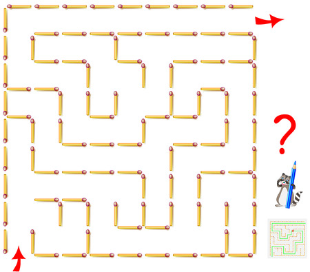 Logic puzzle game with labyrinth. Need to remove one matchstick and find the way from start till end. Vector image. Illustration