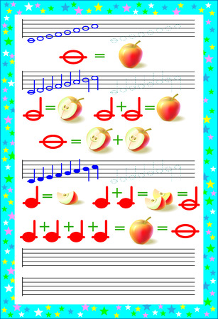 Educational page for children on a square paper to study musical notes. Vector image. 일러스트