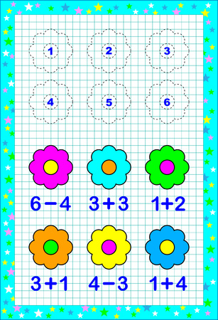 Educational page for children with exercises on a square paper. Need to solve examples and to paint the flowers in corresponding colors.