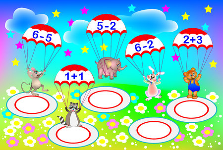 Exercises for children. Need to solve examples and to write the numbers on areas where each parachutist has to land. Developing skills for counting. Vector image.