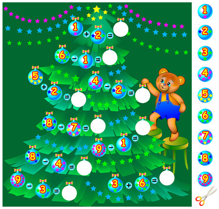Exercises for children. Help teddy bear decorate the Christmas tree. Need to solve examples, cut the balls and place them in the relevant circles. Vector image.