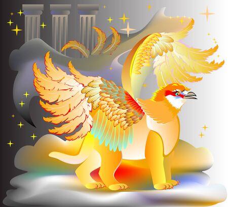 Illustration of fantastic fairyland griffin, vector cartoon image.