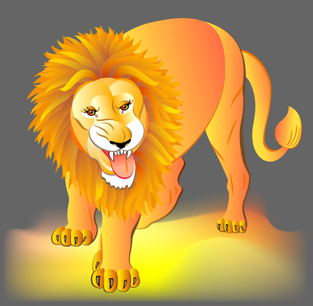 Illustration of lion, vector cartoon image.