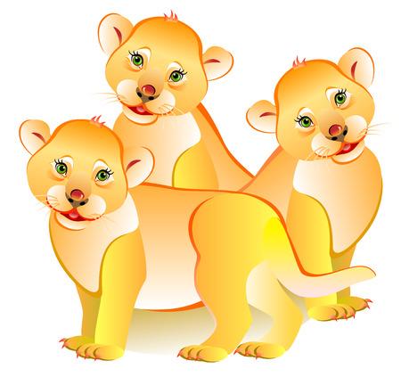 Illustratie van drie kleine leeuwen, vectorbeeldverhaalbeeld.