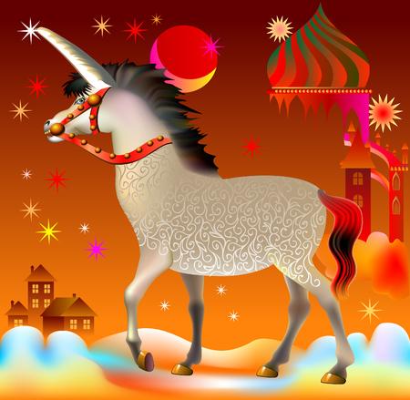 Illustration of unicorn in fantasy fairyland, vector cartoon image.