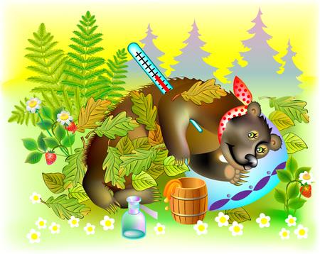 Illustration of ill bear, vector cartoon image. Illustration