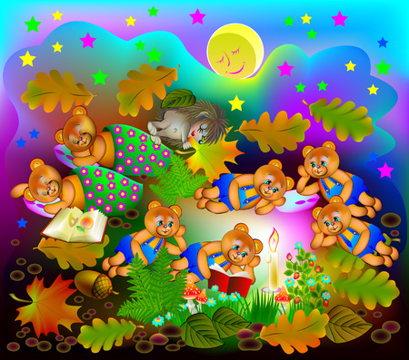 Illustration of little teddy bears reading the book at night, vector cartoon image. Vectores