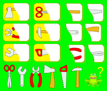 Logic exercise for children. Need to find the second parts of tools and draw them in relevant places. Vector image.