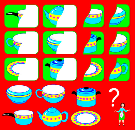 Logic exercise for children need to find the second parts of dishes and draw them in relevant places vector image. Stock Illustratie