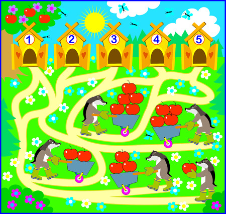Logic exercise for children. Need to count the quantity of apples and draw the way from each animal till correct house. Vector cartoon image.