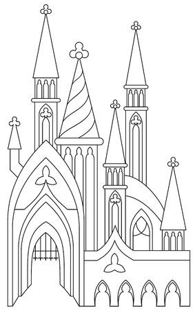 Schwarz-Weiß-Seite zum Ausmalen. Fantastische mittelalterliche Burg aus einem Märchen. Arbeitsblatt für Kinder und Erwachsene. Vektor-Bild. Standard-Bild - 93653444