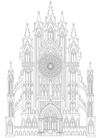 Fantasiezeichnung des mittelalterlichen gotischen Schlosses. Schwarz-Weiß-Seite zum Ausmalen. Arbeitsblatt für Kinder und Erwachsene. Vektor-Bild. Standard-Bild - 93653450