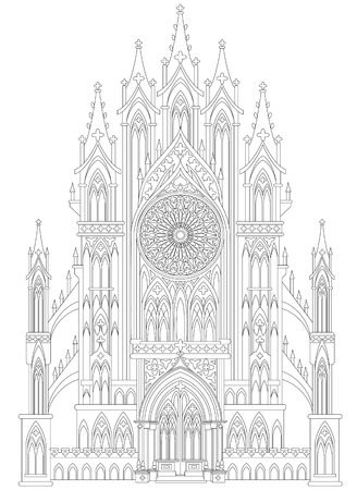 Fantasy drawing of medieval Gothic castle. Black and white page for coloring. Worksheet for children and adults. Vector image. Illustration