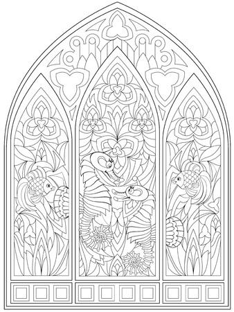 着色のための白黒のページ。中世のスタイルでステンドグラスと美しいゴシック様式の窓のファンタジー描画。 子供と大人のためのワークシート。
