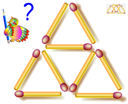 Move two matchsticks to make eight triangles. Logic puzzle game. Vector image.