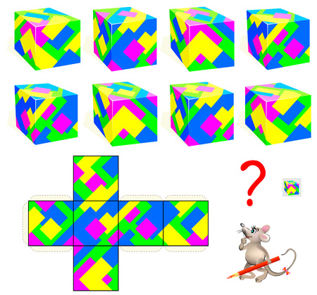 Logic puzzle game. Find the only one cube that corresponds to pattern. Vector  cartoon image.