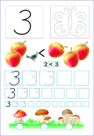 Educational page for children with number 3. Developing skills for counting and writing. Vector image. 矢量图像