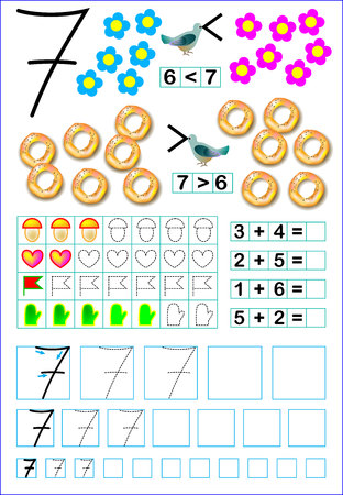 Educational page for children with number 7. Developing skills for counting and writing. Vector image.