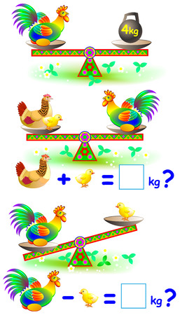 Page with mathematical exercises for young children. Vector cartoon image. Developing children skills for counting and writing.