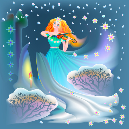 Illustration of beautiful fairy playing the violin in winter, vector cartoon image.