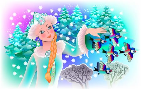 Illustration of Snow-maiden with birds, vector cartoon image. Stock Vector - 93812390
