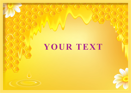 Beautiful background with honey and honeycombs, vector image.