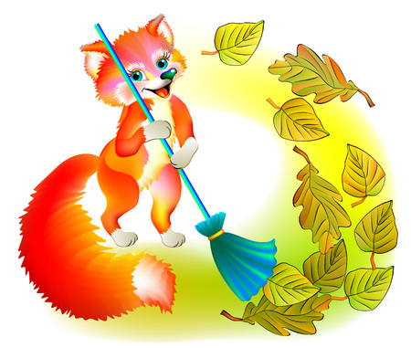 Illustration of little fox sweeping the leaves, vector cartoon image. Illustration