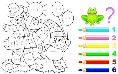 Arkusz matematyczny dla małych dzieci dotyczący dodawania i odejmowania. Trzeba rozwiązać przykłady i pomalować obraz na odpowiednie kolory. Rozwijanie umiejętności liczenia. Grafika wektorowa.