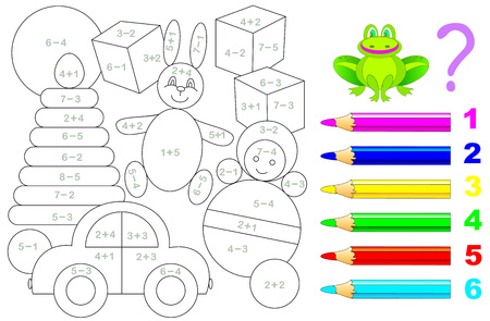 Mathematical worksheet for young children on addition and subtraction. Need to solve examples and paint the picture in relevant colors. Developing skills for counting. Vector image. Illustration