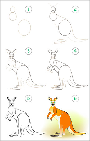 Page shows how to learn step by step to draw a cute kangaroo. Developing children skills for drawing and coloring. Vector image. Stock Illustratie