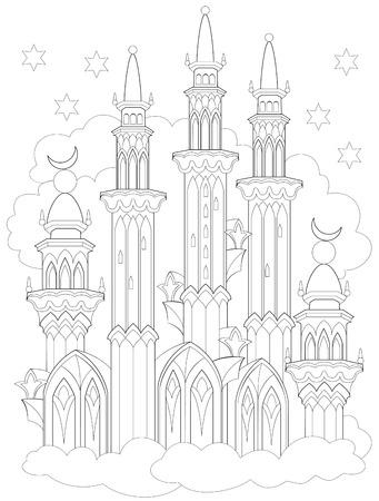 Schwarz-Weiß-Seite zum Ausmalen. Fantasiezeichnung des arabischen Schlosses von Märchen. Arbeitsblatt für Kinder und Erwachsene. Vektor-Bild. Standard-Bild - 94779340