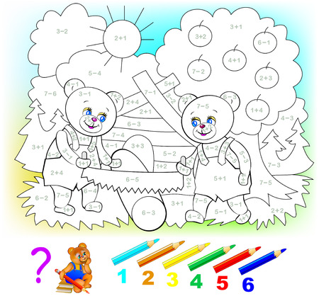 Mathematical worksheet for young children on addition and subtraction. Need to solve examples and paint the picture in relevant colors. Developing skills for counting. Vector image. Ilustração