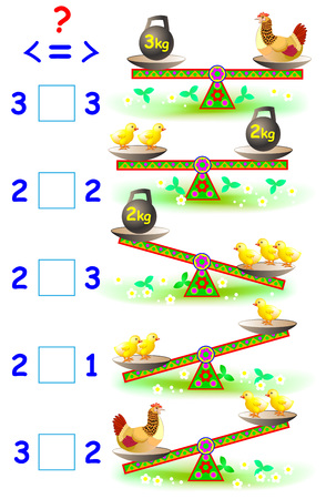 Educational page with mathematical exercises for young children. Need to write the correct signs in empty squares. Vector cartoon image. Illustration