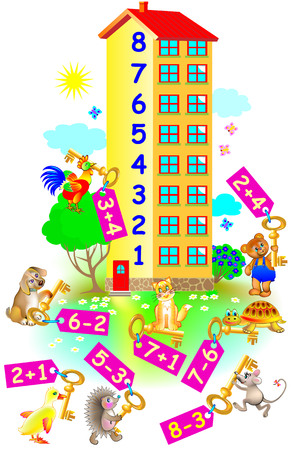 Exercises for children. Need to help animals to find their floor in the house. Developing skills for counting. Vector image. Illustration
