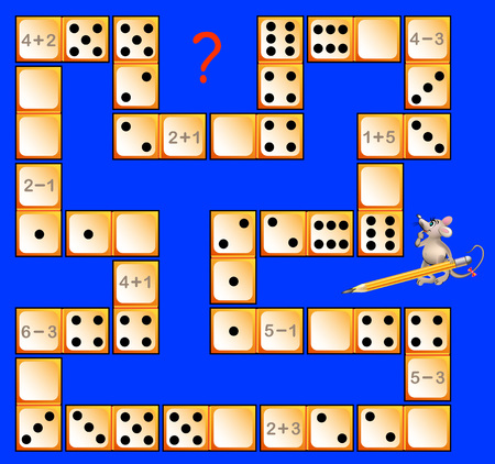 Logic puzzle game for children with dominoes. Solve examples. Draw the corresponding number of dots in correct places to close the circuit. Vector image.