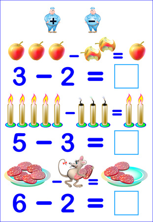 Educational page for children with exercises on subtraction. Need to solve examples and to write the answers. Developing skills for counting. Vector image. Illustration