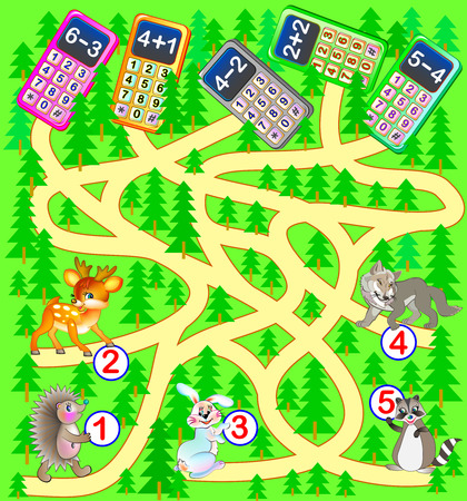 Educational page with exercises for children on addition and subtraction. Help the animals find mobile phones they have lost in the forest. Solve examples and draw the way vector image. Illustration