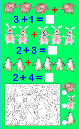 Educational page with exercises for children on addition. Solve examples. Count the number of hidden animals and write the numbers. Vector image. Illustration