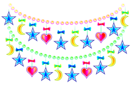 Garland with Christmas decorations, vector cartoon image. Vettoriali